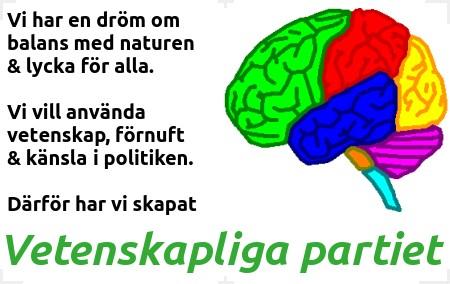 Logo Vetenskapliga partiets hjärna med text