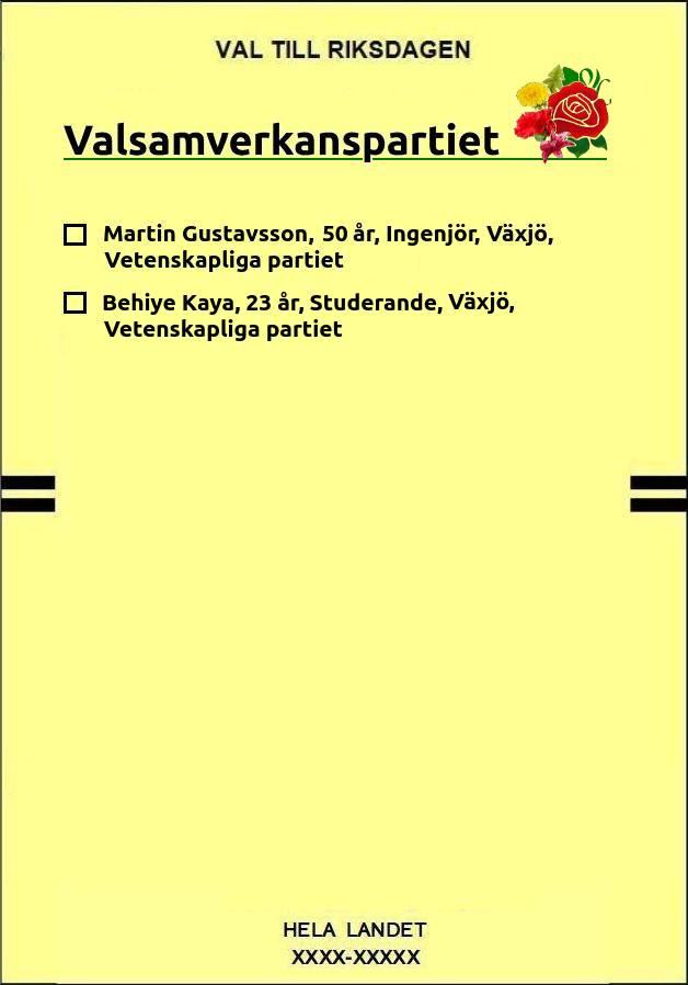Bild på förtryckt valsedel för Valsamverkanspartiet