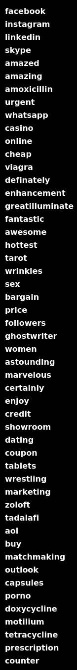 lista på fula spam-ord