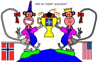 Bild på två Nato-apor på en jordglob med bomber inuti ett nobelpris