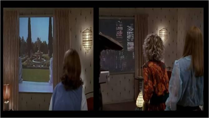 Bild ur filmen Back to the Future, med tvillingtornen som faller