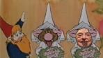 Bild på en upprörd tomte, ett troll med uttsträckt tunga i brudslöja och George Soros med utsträckt tunga i i brudslöja