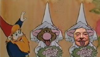 Bild på en upprörd tomte, ett troll med uttsträckt tunga i brudslöja och George Soros med utsträckt tunga i brudslöja Källa: Trolltyg i Tomteskogen
