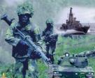 bild på soldater, båt och stridsvagn