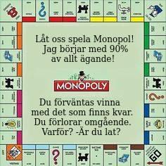 Bild på spelbrädet Monopol med texten: Låt oss spela Monopol! Jag börjar med 90% av allt ägande! Du förväntas vinna med det som finns kvar. Du förlorar omgående. Varför? -Är du lat?