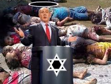 Israels fredlige premiärminister med gloria framför döda palestinska barn i drivor