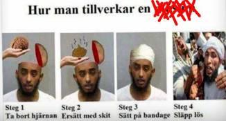 Bild av en man som får sin hjärna utbytt mot skit, får bandage och släpps lös och ser jätte-jätte-arg ut