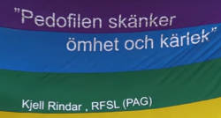 """Texten """"Pedofilen skänker ömhet och kärlek"""" på en Pride-flagga."""