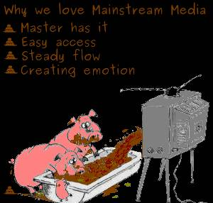 Bild på grisar som äter svinfoder som kommer ur TV:n med texten Why we love Mainstream Media. Master has it. Easy access. Steady flow. Creating emotion.