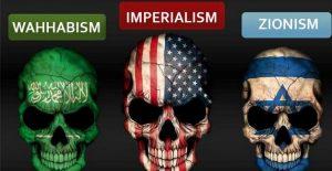 Bild med döskallar belysta med Saudiarabiens USA:S och Israels flaggor, samt texten Wahabism Imperialism Zionism