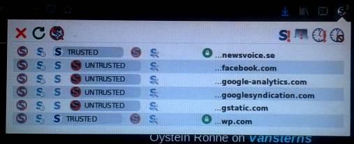 Bild på NoScripts kontrollpanel vid besök på Newsvoice med egna inställningar