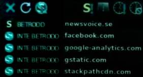 Bild på blockerade och godkända skripts i NoScript