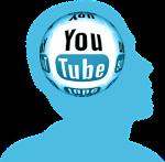 Bild på ett huvud som har Youtube istället för hjärna