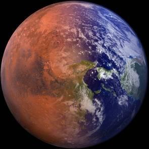 Bild på terraforming av mars från röd till blå