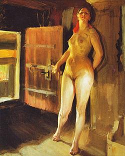 Bild på kvinna på loft