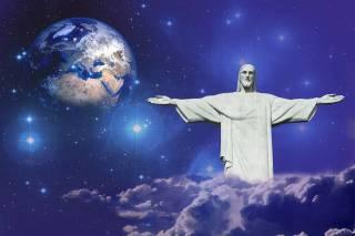 Bild på Jorden, stjärnor och Jesus med utsträckta armar