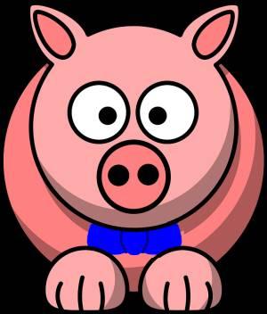 Tecknad gris i blå fluga